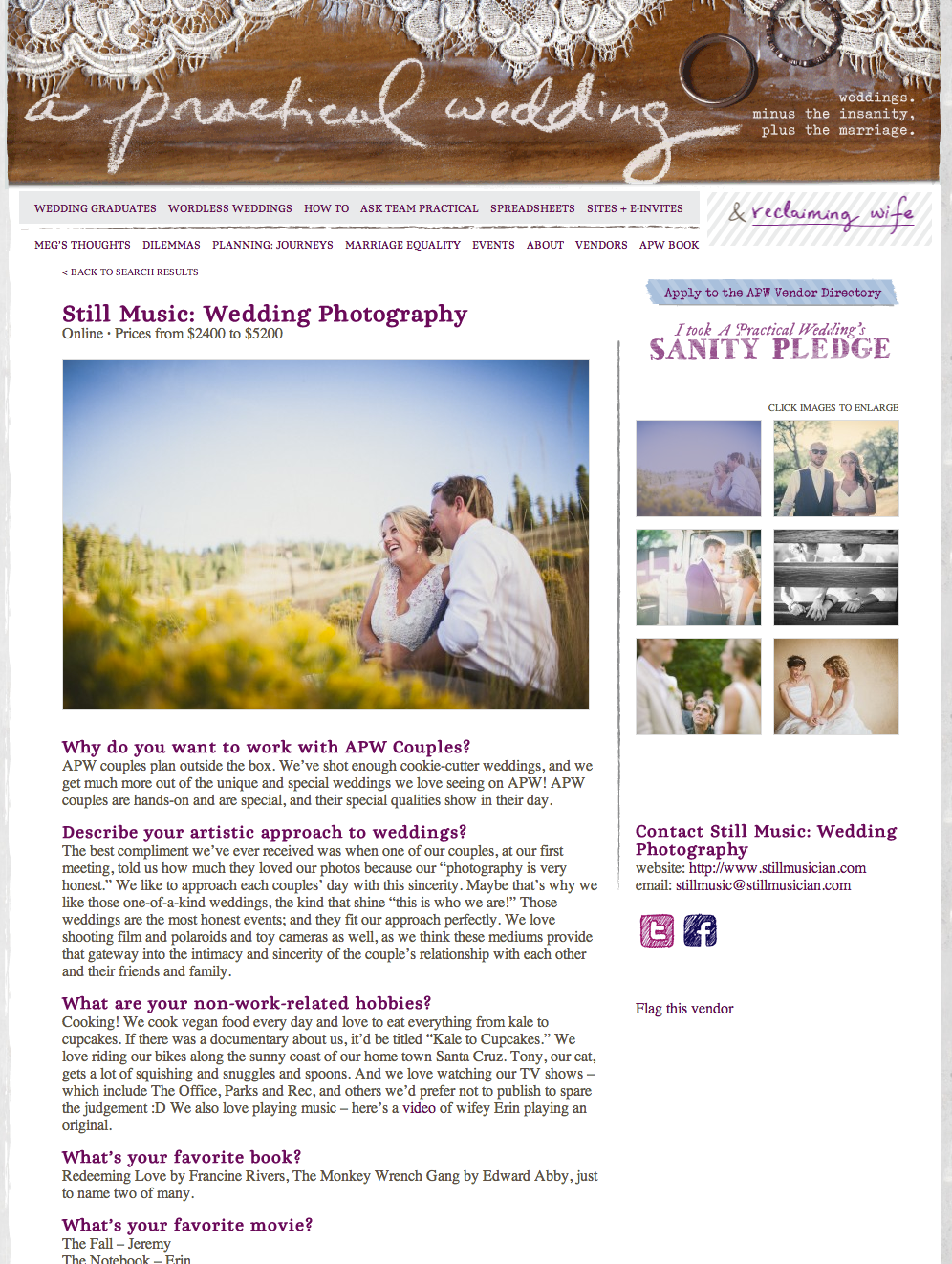 Still Music: Wedding Photography featured on A Practical
