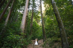 wide angle shot of happy bride and groom after their ceremony hugging among giant redwood trees in the forest in the santa cruz mountains at stones and flowers retreat center in ben lomond