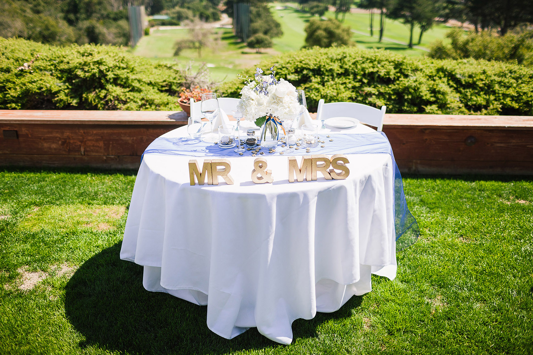 head table mr. and mrs. decor and diy details table settings among the green lawn that over looks the monterey bay vista view at the pasatiempo golf course at the bride and groom newlywed hollins house wedding the perfect santa cruz wedding venue