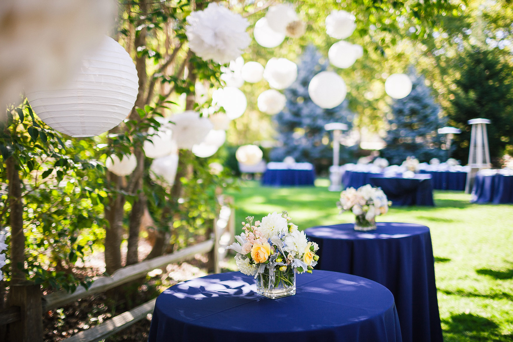 table settings blue table cloth white globe lights dangle from green lush trees with floral center pieces flowers waiting for the highlands park wedding reception to begin start at a highlands park wedding the perfect felton wedding venue santa cruz wedding venue redwood wedding venue santa cruz wedding photographer
