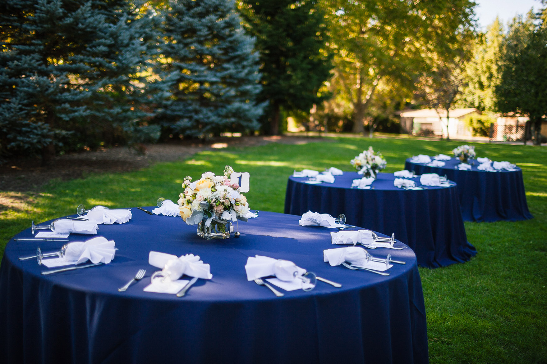 table settings blue table cloth white surrounded by grass lawn and green lush trees with floral center pieces flowers waiting for the highlands park wedding reception to begin start at a highlands park wedding the perfect felton wedding venue santa cruz wedding venue redwood wedding venue santa cruz wedding photographer
