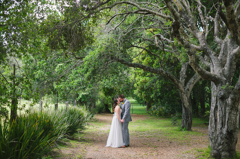 happy couple newlyweds hold hands under the green spring trees in their wedding attire gown dress tux suit at their rancho soquel wedding the best santa cruz wedding venue